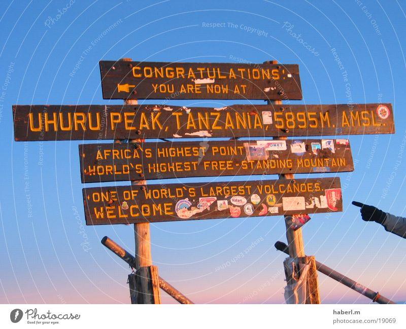 Kilimanjaro Luft kalt Wind schön Erfahrung Afrika Gipfel Meter Zufriedenheit Berge u. Gebirge hoch Himmel Erfolg genießen Selbserfahrung Schilder & Markierungen