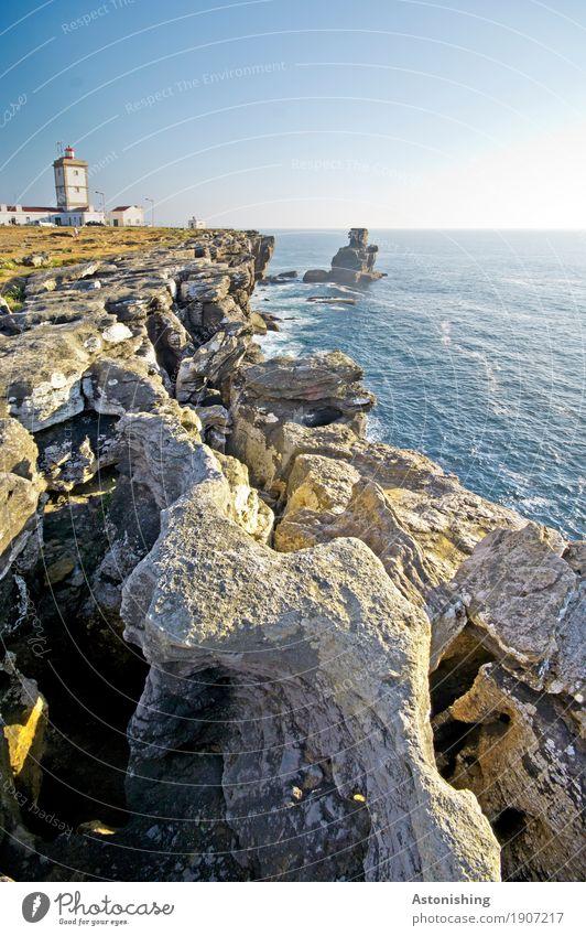 #800 - Portugiesische Küste Himmel Natur Pflanze blau Sommer Wasser Meer Landschaft Haus Ferne Umwelt Gebäude grau Stein Felsen