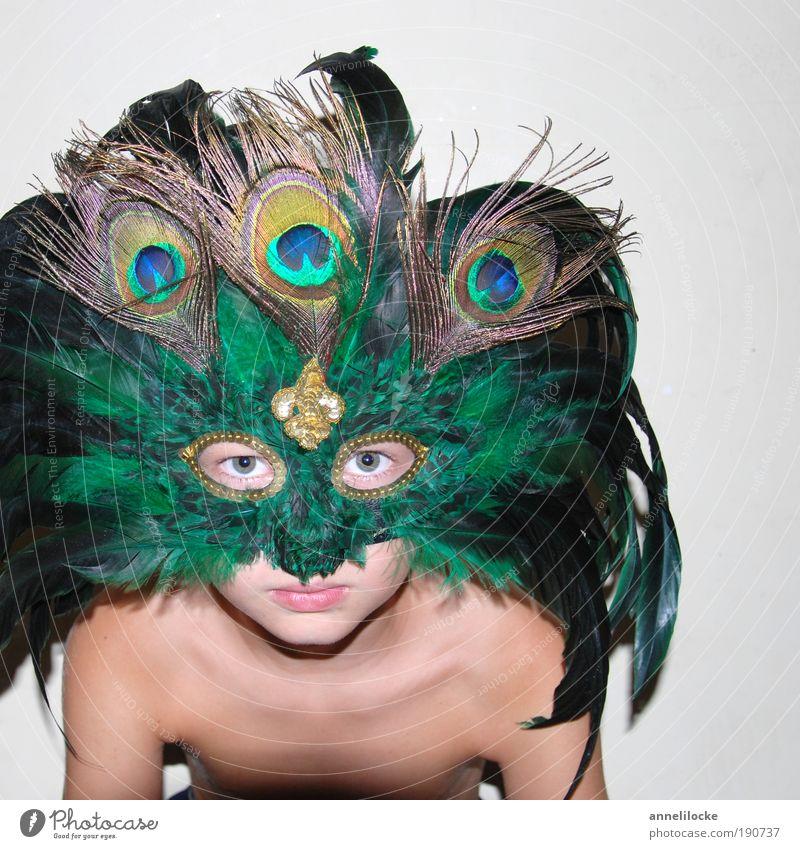 buhhh! .. Spielen Karneval Mensch maskulin Kind Kindheit Haut Kopf Auge 3-8 Jahre 8-13 Jahre Accessoire Maskenball Pfauenfeder grün selbstbewußt verschönern