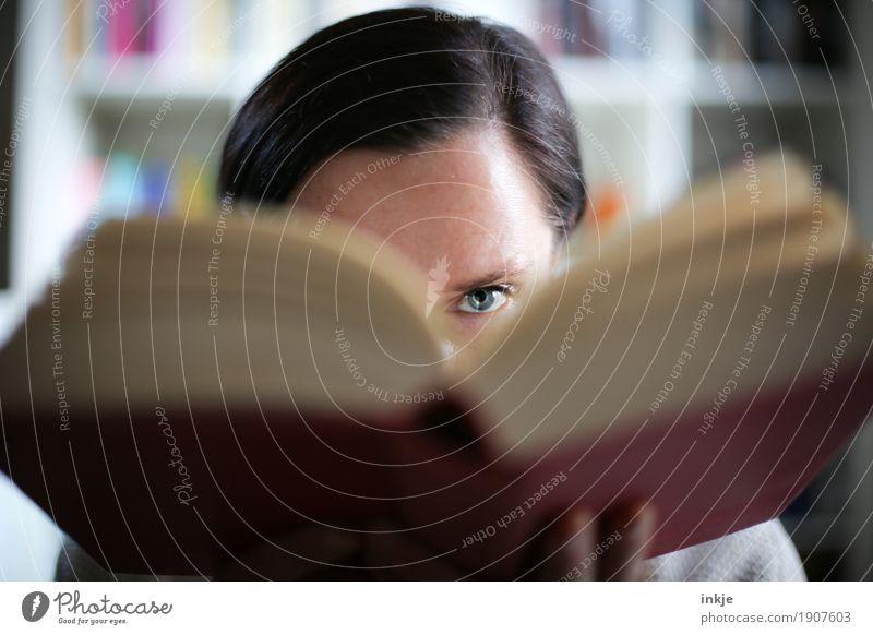 Horrorgeschichten Lifestyle Freizeit & Hobby lesen Bildung Erwachsenenbildung lernen Berufsausbildung Studium Schulbücher Frau Leben Gesicht Auge 1 Mensch