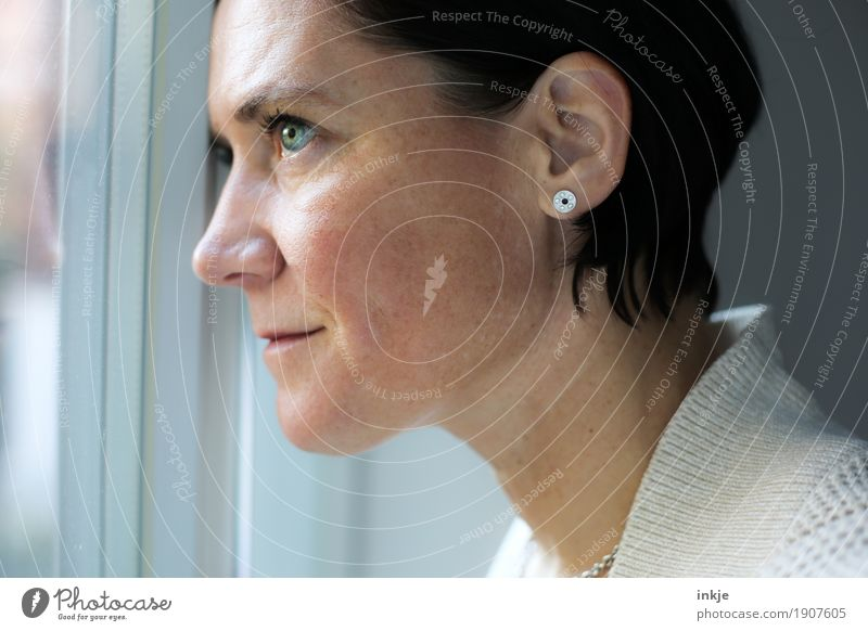 neues Jahr Lifestyle elegant Stil Freizeit & Hobby Fenster Frau Erwachsene Leben Gesicht 1 Mensch 30-45 Jahre 45-60 Jahre Lächeln Blick träumen authentisch