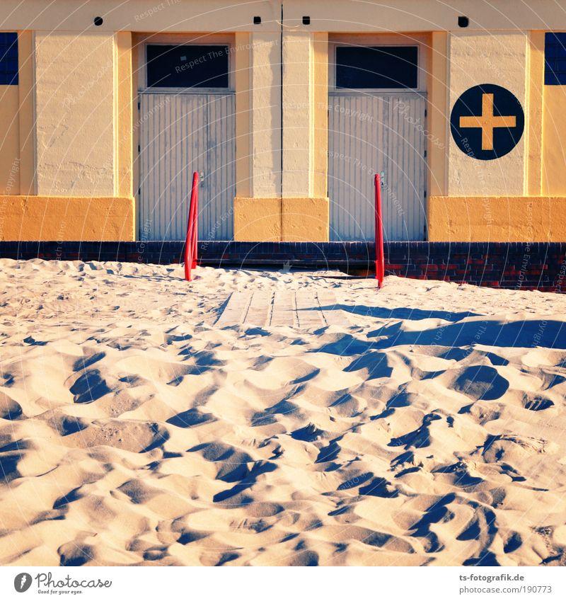 2 Tür + ? = Sonne Strand Ferien & Urlaub & Reisen gelb Stein Wege & Pfade Gebäude Sand braun gold Treppe Tourismus weich geheimnisvoll
