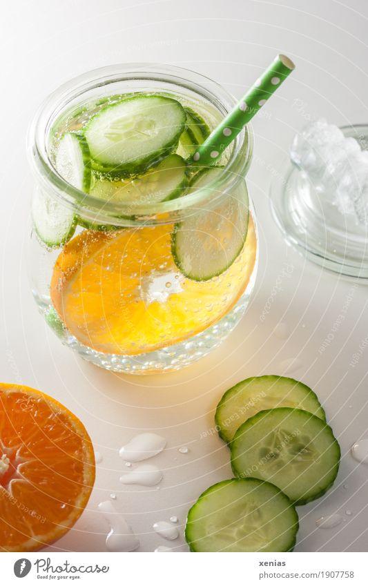 Ein Glas Erfrischungsgetränk mit Mandarine, Gurke und Strohhalm auf weißem Grund Getränk Frucht Gurkenscheibe Detox trinken Trinkwasser Limonade Eiswürfel