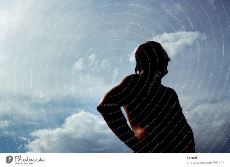Sommertag-Moment Himmel Mann blau Wasser Ferien & Urlaub & Reisen Sonne Meer Strand Wolken ruhig Erwachsene Kopf Wärme Arme Schwimmen & Baden