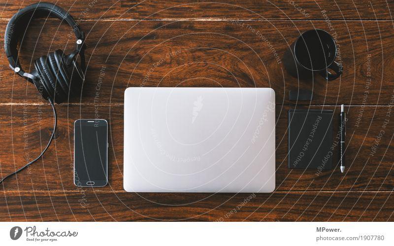 workstation Stil Holz Arbeit & Erwerbstätigkeit Büro modern Kreativität Computer Sauberkeit Pause Kaffee Telefon schreiben trendy Handy Schreibtisch Arbeitsplatz