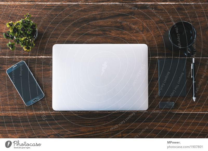 ordnung Stil Holz Arbeit & Erwerbstätigkeit Büro modern Kreativität Computer Sauberkeit Pause Kaffee Telefon schreiben trendy Handy Schreibtisch Arbeitsplatz