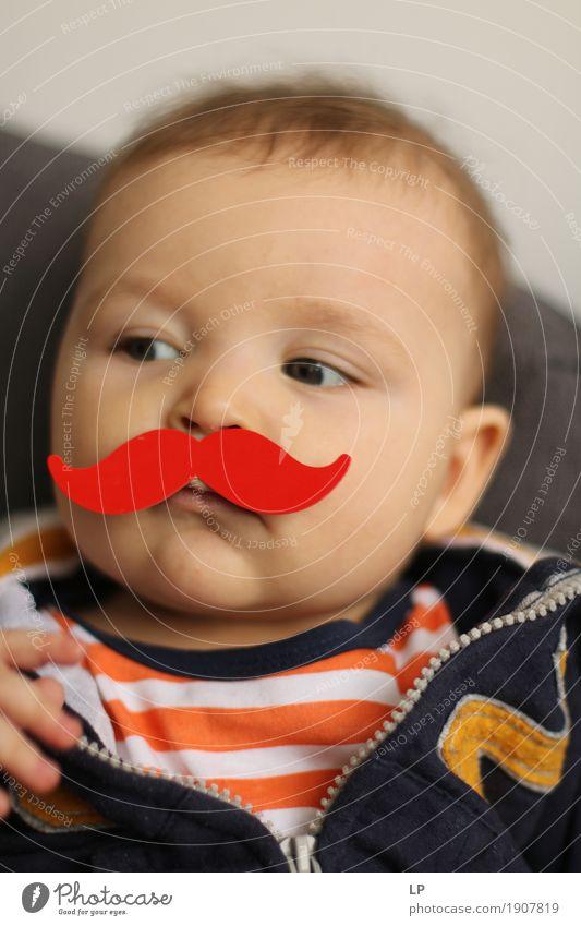 roter Schnurrbart 1 Mensch Kind Gesicht Erwachsene Gefühle Lifestyle lustig Familie & Verwandtschaft Schule Feste & Feiern Kindheit Geburtstag Baby Neugier