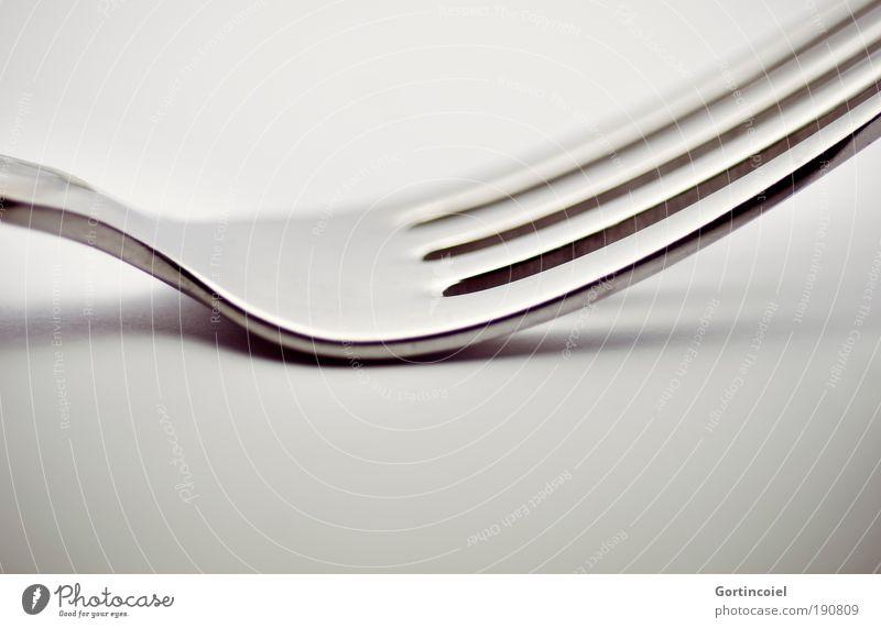 Fork Ernährung dunkel Stil grau Linie hell Metall glänzend Design elegant Ecke Spitze zart silber Silber sanft