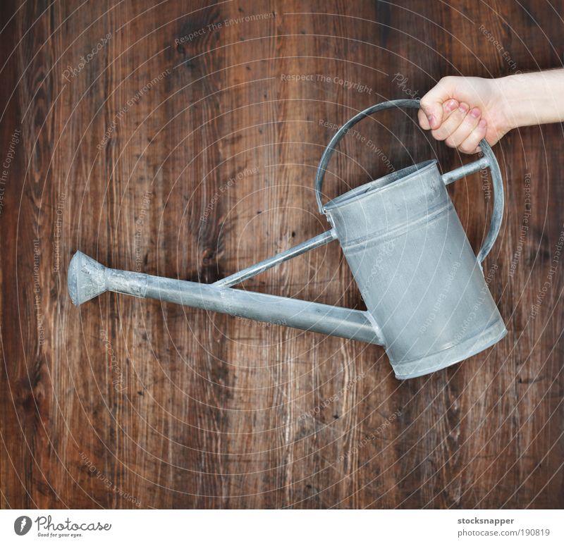 Hand Metall Dose Fotografie Gartenarbeit Gießkanne unkenntlich