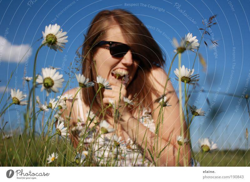 magritte. Natur Jugendliche Himmel Blume Pflanze Sommer Freude Frau Gesicht Leben feminin Gras Haare & Frisuren Kopf Aktion