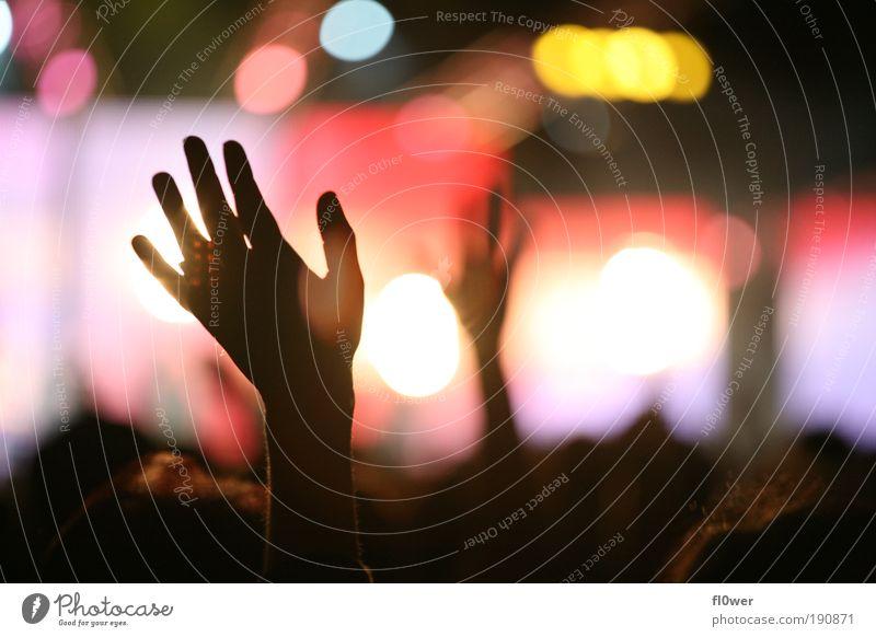 +PUT YOUR HANDS UP IN THE AIR+ Hand schwarz Gefühle Religion & Glaube Stimmung Musik Arme authentisch Finger Textfreiraum Konzert Veranstaltung Gebet Gott