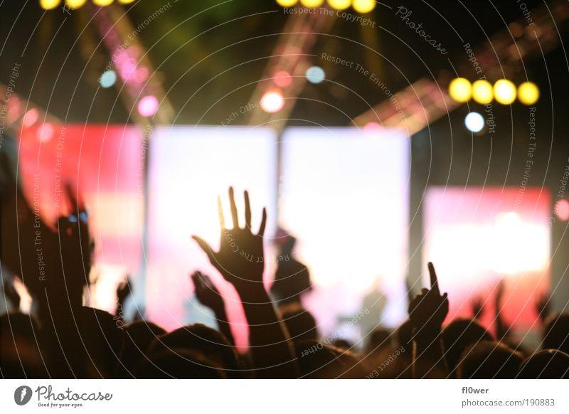 ++PUT YOUR HANDS UP IN THE AIR++ Hand schwarz Gefühle Stimmung Musik authentisch Finger Veranstaltung Konzert Bühne abstrakt Gott Gebet Gottesdienst Leuchtdiode