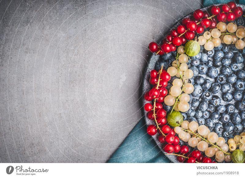 Hintergrund mit verschiedenen Beeren Lebensmittel Frucht Bioprodukte Vegetarische Ernährung Diät Stil Design Gesundheit Gesunde Ernährung Sommer Hintergrundbild