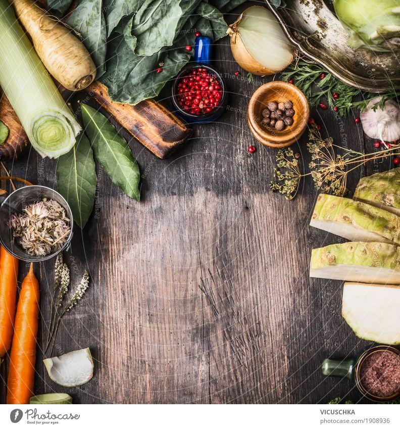 Bio-Gemüse Zutaten für gesundes Kochen Lebensmittel Kräuter & Gewürze Ernährung Bioprodukte Vegetarische Ernährung Diät Geschirr Stil Design Gesundheit