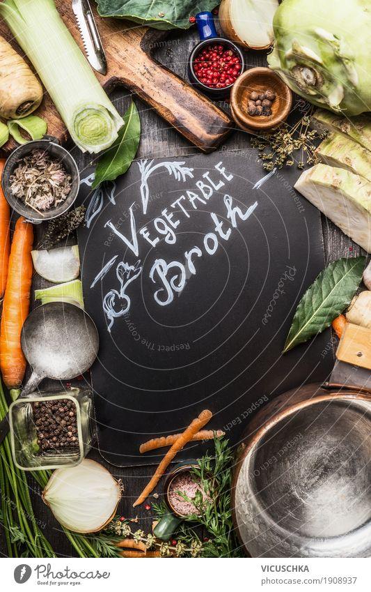 Gesunde Gemüsebrühe Zutaten Gesunde Ernährung Leben Hintergrundbild Gesundheit Stil Lebensmittel Design Tisch Kräuter & Gewürze Küche Bioprodukte Restaurant