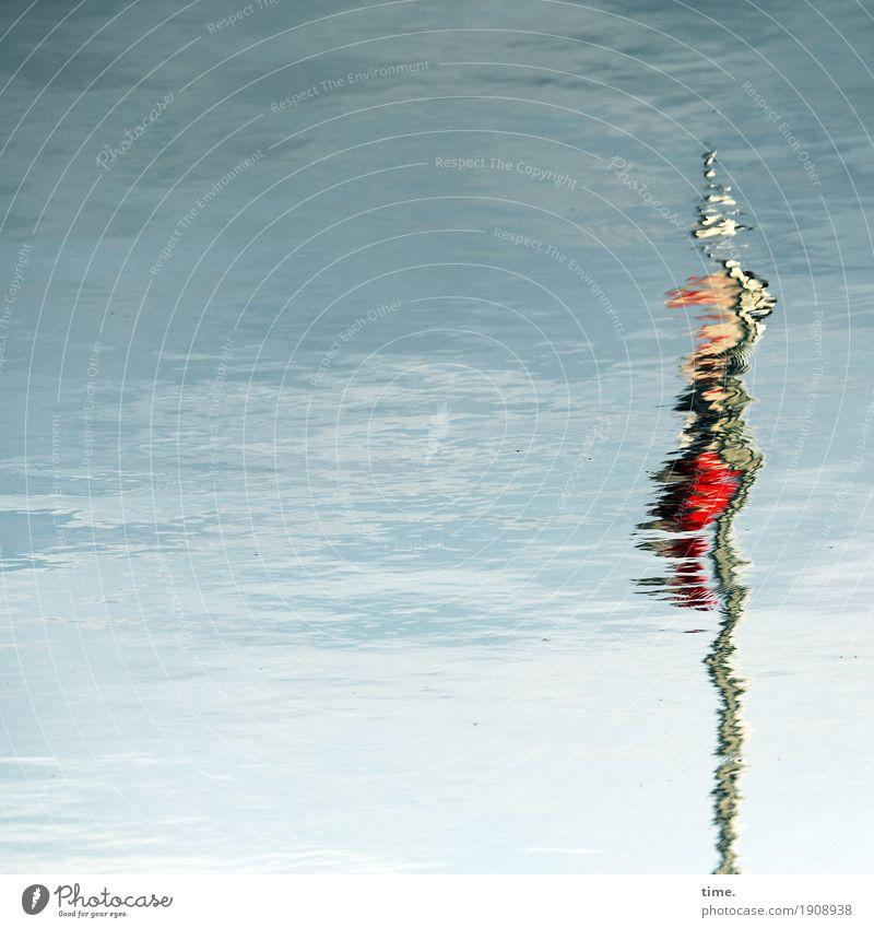 Vibration | Zappelphilipp Wasser Wasseroberfläche Schifffahrt Binnenschifffahrt Signalanlage Streifen Stab Strukturen & Formen Bewegung lang maritim Leben