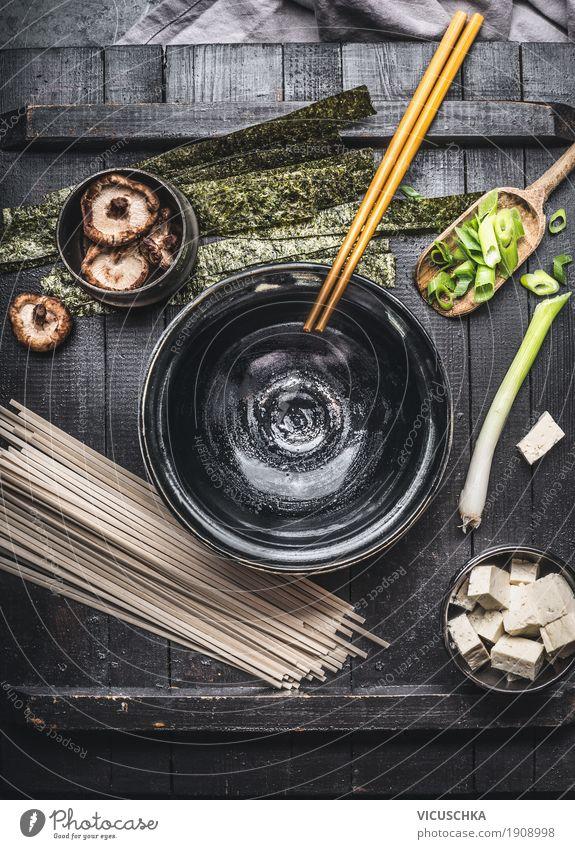 Zutaten für Miso Suppe Lebensmittel Meeresfrüchte Gemüse Ernährung Mittagessen Festessen Bioprodukte Vegetarische Ernährung Diät Asiatische Küche Geschirr Stil