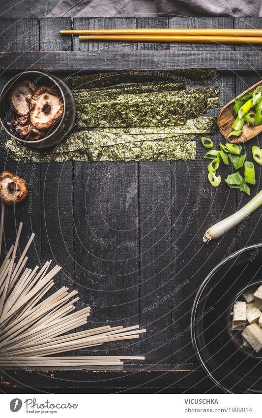 Asiatische Tofu-Nudeln Suppe Zubereitung Lebensmittel Ernährung Mittagessen Abendessen Bioprodukte Vegetarische Ernährung Diät Asiatische Küche Geschirr Stil