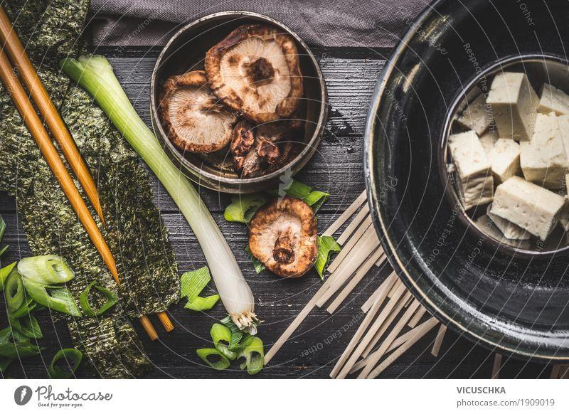 Kochzutaten für asiatische Miso Suppe Lebensmittel Gemüse Kräuter & Gewürze Öl Ernährung Mittagessen Festessen Bioprodukte Vegetarische Ernährung Diät Geschirr