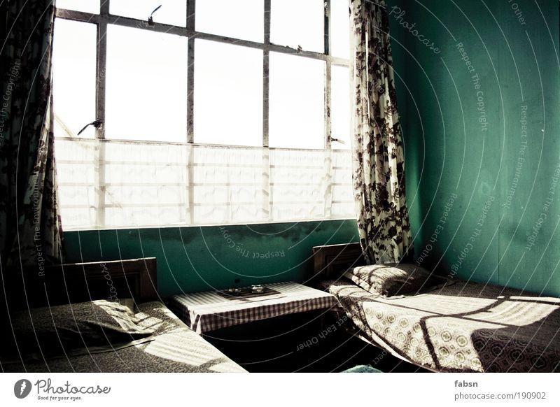 ROOM 003 grün Ferien & Urlaub & Reisen ruhig Ferne Erholung Freiheit Stil Raum Wohnung dreckig Innenarchitektur ästhetisch Tisch Haus Häusliches Leben Bett