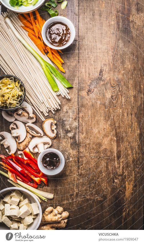 Vegetarische Zutaten für Asiatische Küche Lebensmittel Gemüse Kräuter & Gewürze Öl Ernährung Mittagessen Abendessen Büffet Brunch Geschirr Schalen & Schüsseln