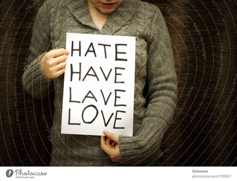 gelöst Mensch Frau Erwachsene Liebe Gefühle Stimmung Raum Finger Schriftzeichen Hoffnung Kommunizieren schreiben Kontakt Konflikt & Streit Verzweiflung