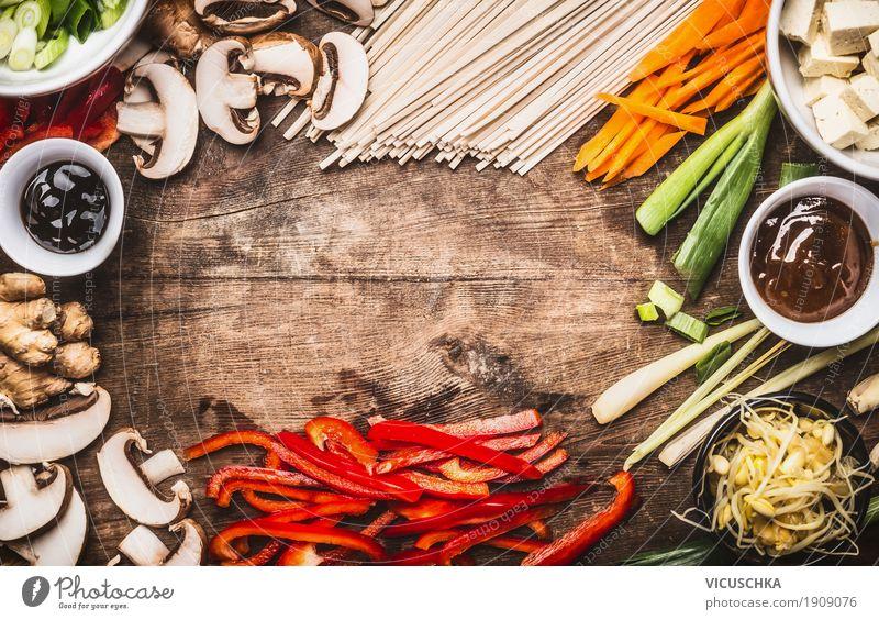Asiatische Küche mit vegetarischen Zutaten Lebensmittel Gemüse Kräuter & Gewürze Öl Ernährung Mittagessen Abendessen Festessen Bioprodukte