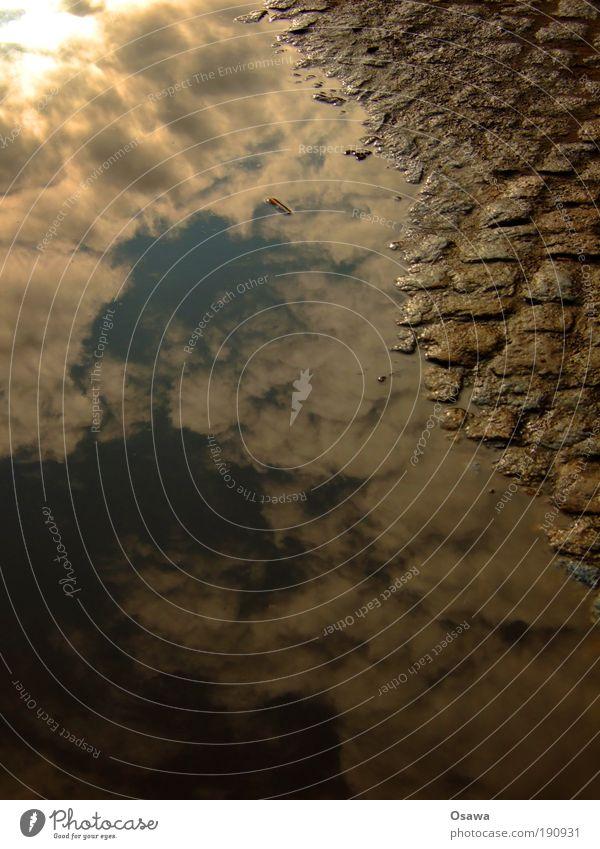 Wolkenpflaster Straße Wege & Pfade Kopfsteinpflaster Pflastersteine Bürgersteig Pfütze Wasser Oberfläche Wasseroberfläche Reflexion & Spiegelung Himmel