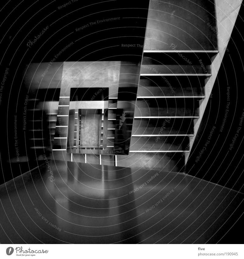 für secretgarden Haus Bauwerk Gebäude Architektur Mauer Wand Treppe eckig modern schwarz Design Häusliches Leben Treppenhaus Schwarzweißfoto Innenaufnahme