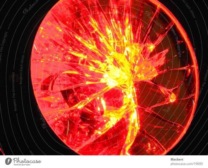 Feuerscheibe rot gelb Industrie rund Linse