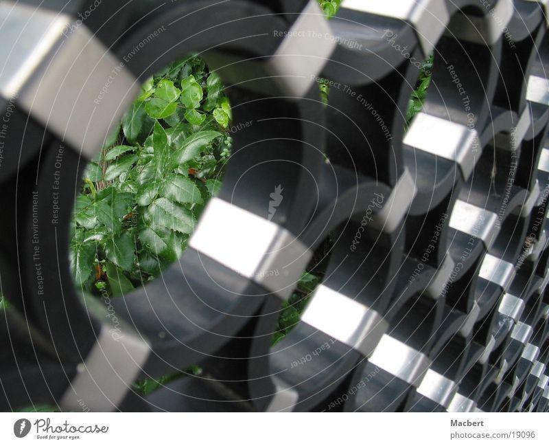 Ringe diagonal schwarz rund Zaun Industrie Kreis silber