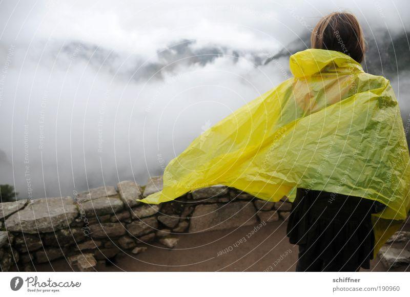 Noch mehr Regen am Machu Picchu Mensch Ferien & Urlaub & Reisen Wolken träumen Traurigkeit Mauer Nebel Wind Wetter Klima Schutz Urwald wehen dramatisch