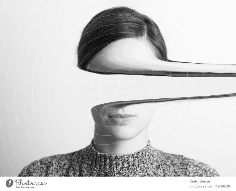 Schwarzweiss-Portrait des mysteriösen Mädchens elegant Stil Design schön Gesicht Mensch feminin Junge Frau Jugendliche Erwachsene 1 18-30 Jahre Mode Pullover