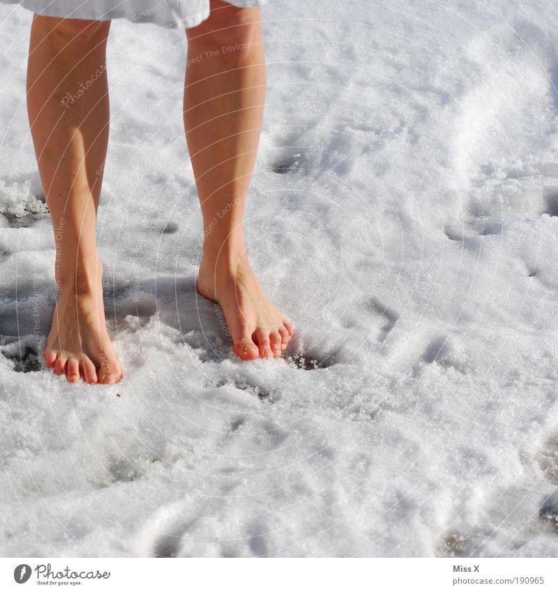 Kneippkur Mensch Jugendliche Winter kalt Schnee Fuß Eis Beine Erwachsene Wetter verrückt Coolness Frost Klima Schönes Wetter Ausdauer
