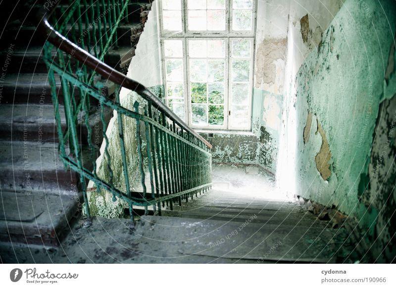Auf und ab Lifestyle elegant Stil Design Häusliches Leben Renovieren Umzug (Wohnungswechsel) Innenarchitektur Ruine Gebäude Mauer Wand Treppe Fenster ästhetisch