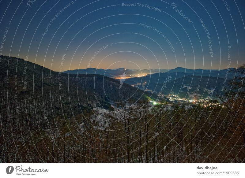 Pfälzer Wald Natur Landschaft Wolkenloser Himmel Nachthimmel Stern Winter Schnee Baum Hügel Berge u. Gebirge wandern ästhetisch Ferne blau grün weiß Freiheit