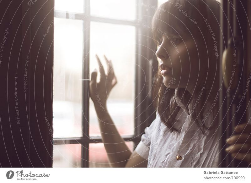 Augen, zu gross für meinen Kopf. Jugendliche alt ruhig Gesicht Einsamkeit Ferne Mensch feminin Frau Fenster Gefühle Holz Haare & Frisuren Stimmung ästhetisch Licht