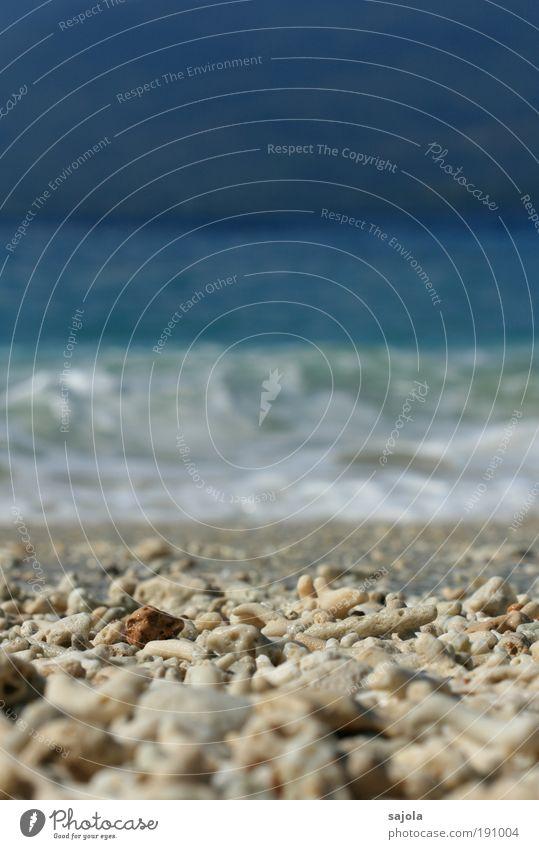 vierteilung Natur Wasser Sonne Meer Sommer Strand Ferien & Urlaub & Reisen Ferne Wellen Umwelt Horizont Asien Stein Urelemente Kieselsteine Sommerurlaub