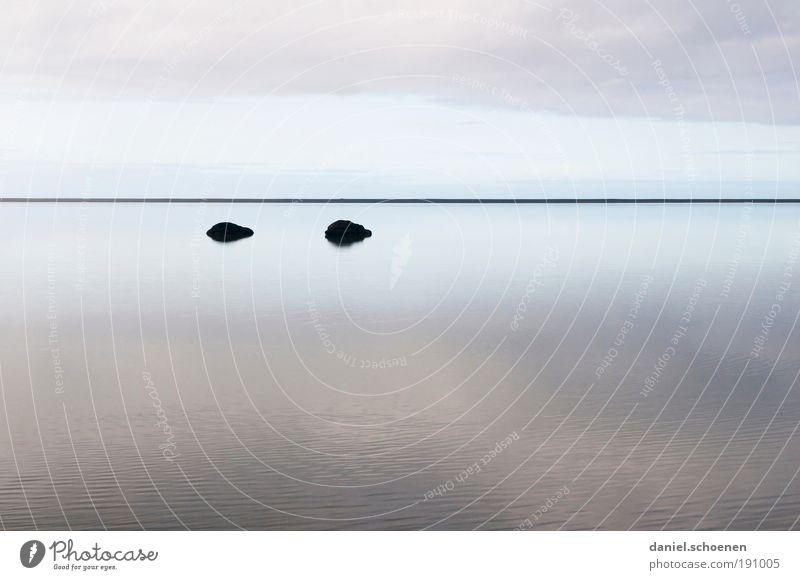 Spiegelmeer Wasser Himmel weiß Meer blau Einsamkeit Ferne grau Zufriedenheit Küste Horizont Klima Unendlichkeit Island Klimawandel