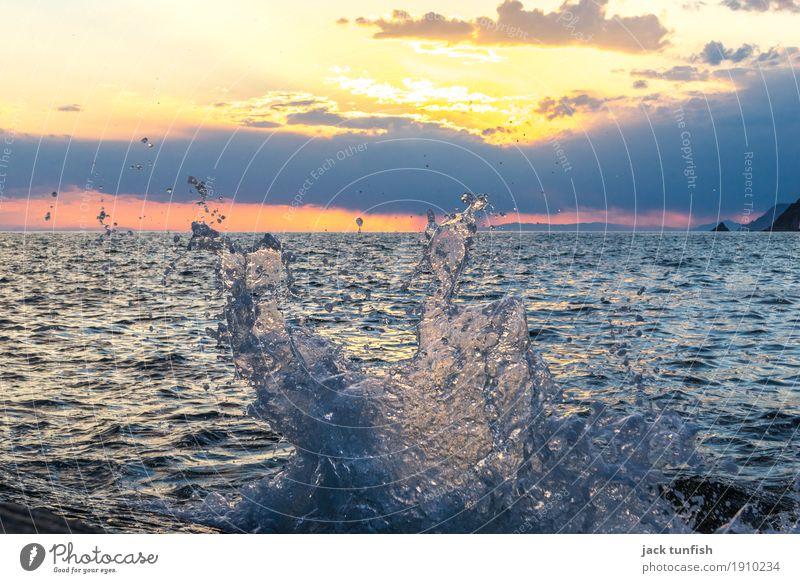 Splash Güterverkehr & Logistik Natur Wasser Sonne Sonnenaufgang Sonnenuntergang Sonnenlicht Schönes Wetter Wellen Küste blau gelb gold orange Wolken Farbfoto