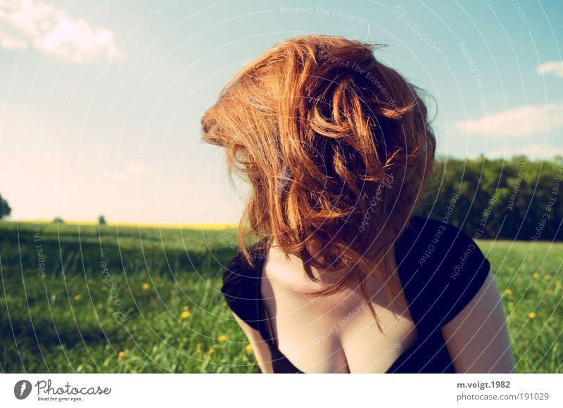 Haarige Angelegenheit Ausflug Sommer feminin Junge Frau Jugendliche Haare & Frisuren 18-30 Jahre Erwachsene Natur Himmel Frühling Wiese rothaarig langhaarig