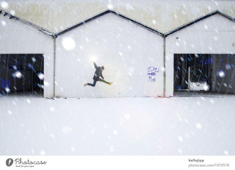 full house Mensch maskulin Mann Erwachsene Körper 1 Haus Mauer Wand Dach Dachrinne springen Schnee Schneefall Garage Dreieck Ruine Abrissgebäude rennen Eile