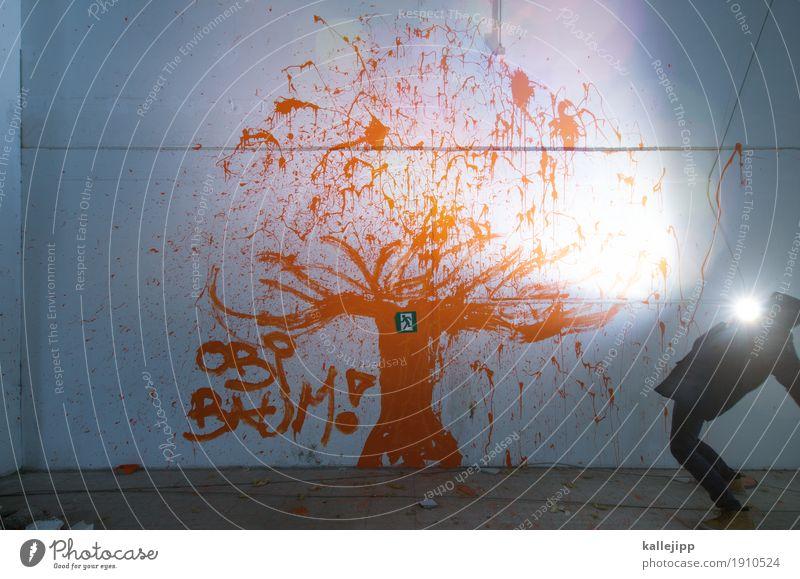 stammbaum Mensch maskulin Mann Erwachsene Leben Körper 1 Jacke Mütze Wachstum Baum Blitze Graffiti Lebensbaum Wand Mauer orange anblitzen staunen Farbfoto