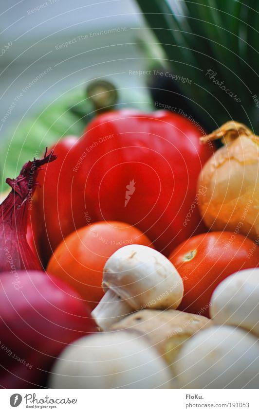 Das beste vom Bauern Lebensmittel Gemüse Ernährung Abendessen Festessen Bioprodukte Vegetarische Ernährung Diät Fasten grün rot weiß Gesundheit Paprika Tomate