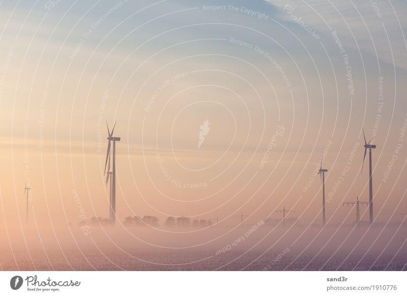 Wind generator at sunrise in the fog Winter Windkraftanlage Natur Sonnenaufgang Sonnenuntergang Kraft Gerät Frost Generation Schnellzug Industriefotografie