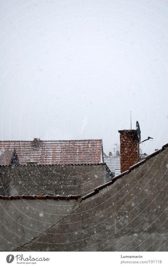 backstage Klima Schnee Schneefall Dorf Kleinstadt Haus Gebäude Architektur Mauer Wand Dach Schornstein alt einfach trist Stadt grau Stimmung ruhig sparsam