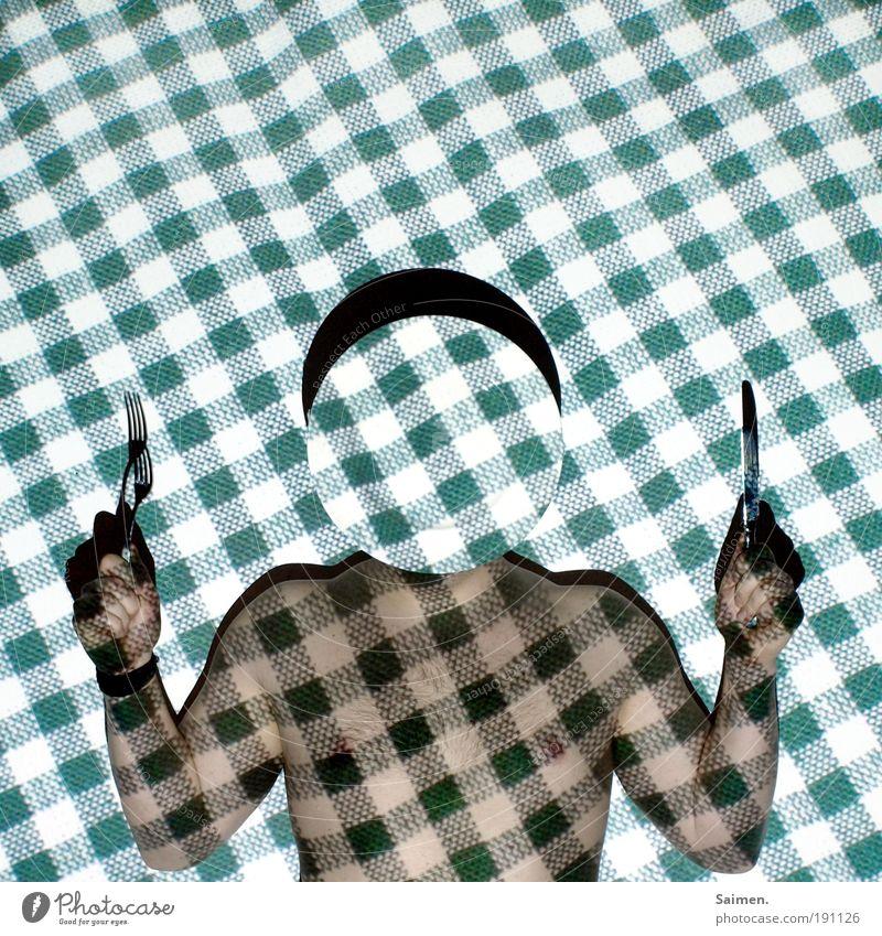 Mahlzeit! Ernährung Geschirr Teller Besteck Messer Gabel Körper Mensch maskulin Mann Erwachsene 1 Essen außergewöhnlich muskulös nackt Sauberkeit grün Freude