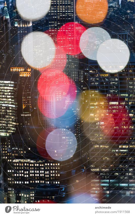 New York Doppelbelichtung mit Lichter der Stadt Ferien & Urlaub & Reisen Dekoration & Verzierung Kunst Skyline Gebäude Architektur Hubschrauber Fluggerät oben