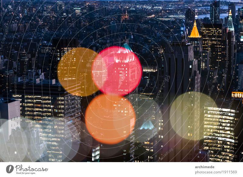 New York Doppelbelichtung mit Lichter der Stadt Ferien & Urlaub & Reisen Farbe Architektur Gebäude Kunst oben Dekoration & Verzierung Kreativität erleuchten