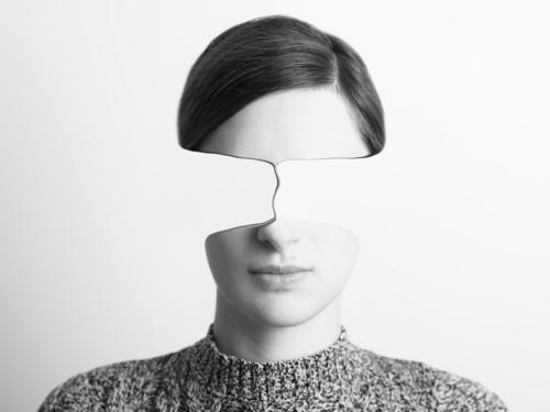 Abstraktes Frauen-Schwarzweiss-Porträt der Zeit Konzept führend elegant Stil schön Gesicht Mensch feminin Junge Frau Jugendliche Erwachsene Kopf 1 18-30 Jahre